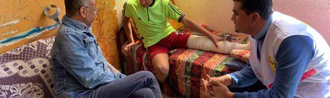 Glenn met gewonde demonstrant in Gaza